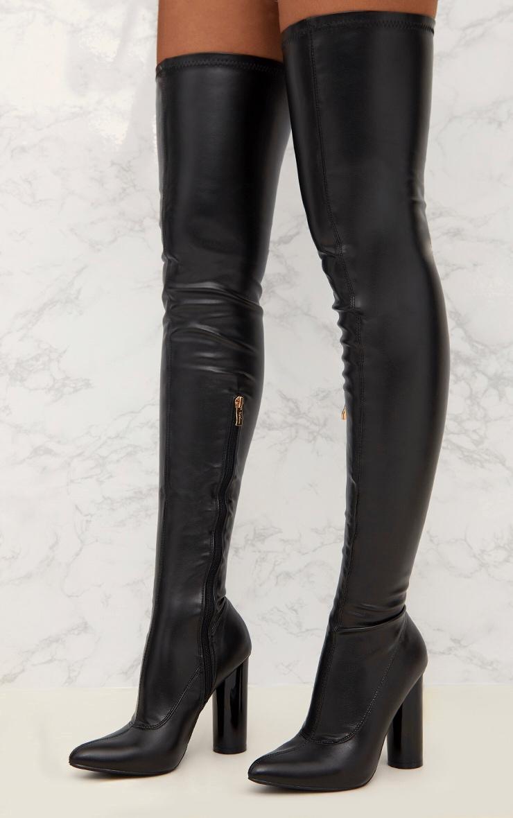 Black Black PU Thigh Boot 2