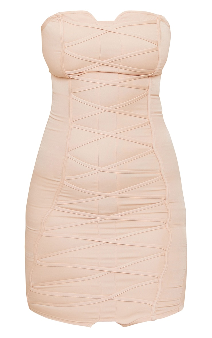 Tall Nude Bandeau Woven Corset Detail Bodycon Dress  5