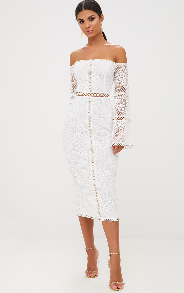 White Lace Eyelet Detail Bardot Midi Dress 5