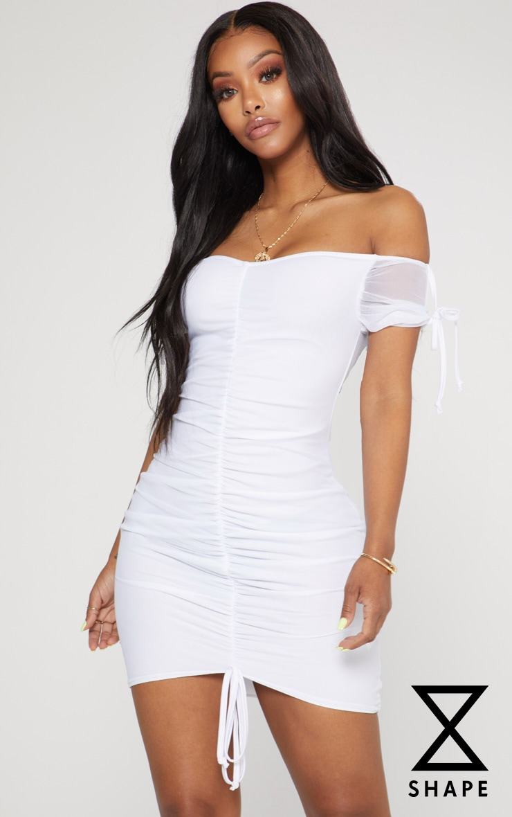 Shape White Ruched Mesh Bardot Bodycon Dress