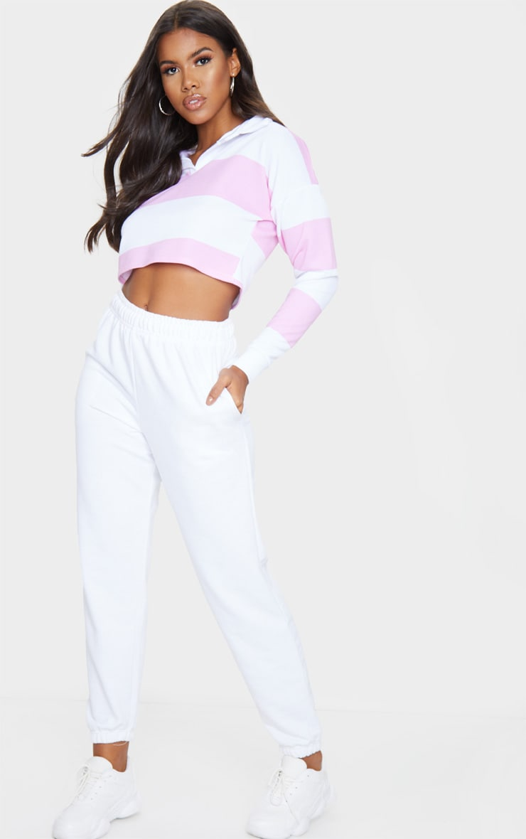 Baby Pink Stripe Collar Polo Long Sleeve Crop Top 3