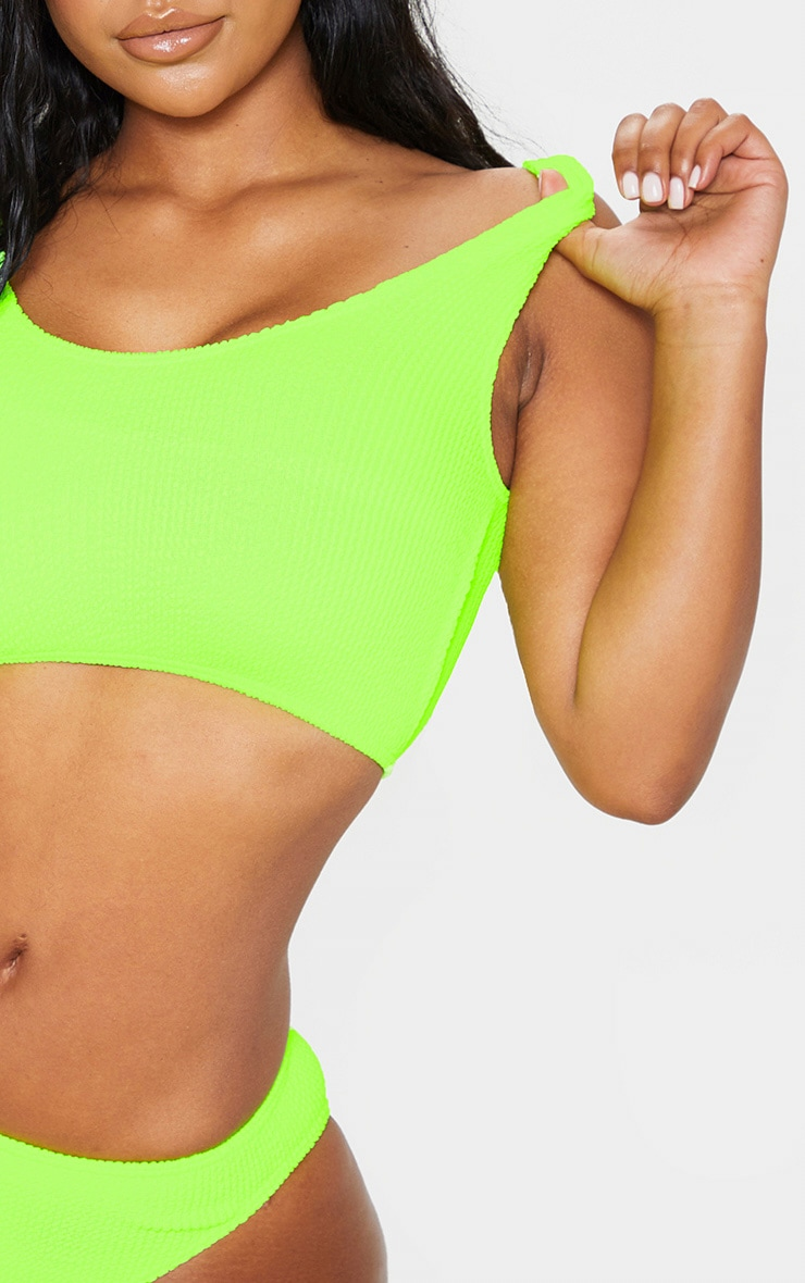 Neon Lime Fuller Bust Crinkle Deep Scoop Bikini Top 5