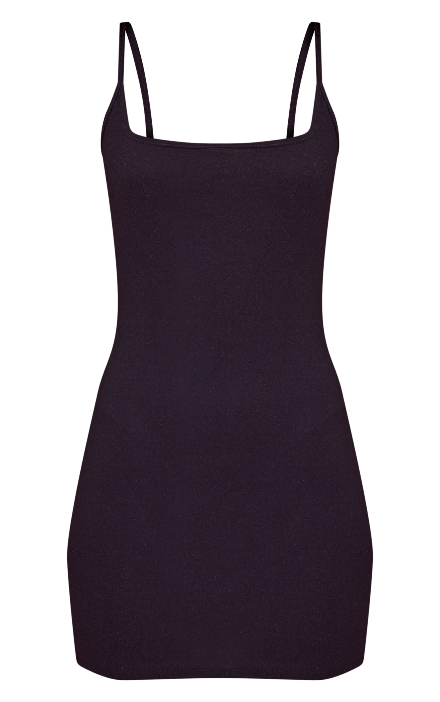Black Crepe Square Neck Strappy Bodycon Dress 3