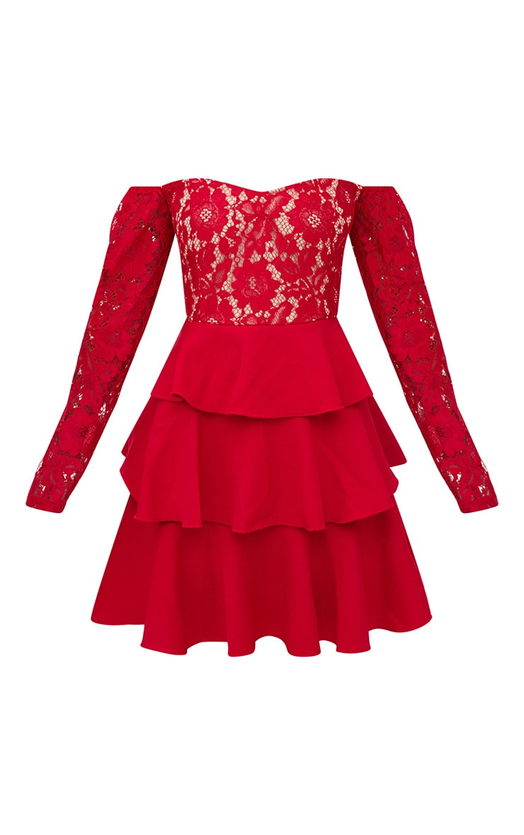 Red Lace Top Frill Detail Skater Dress  3