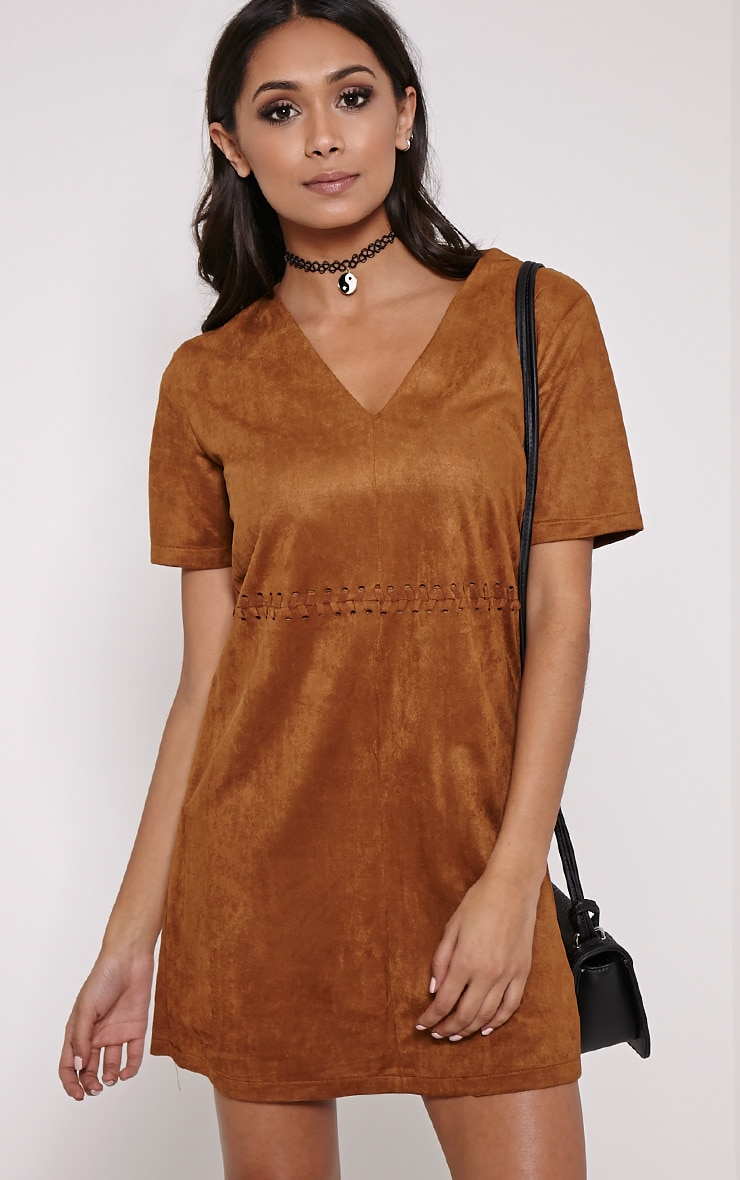 Sina Tan Stitch Detail Faux Suede Shift Dress 1