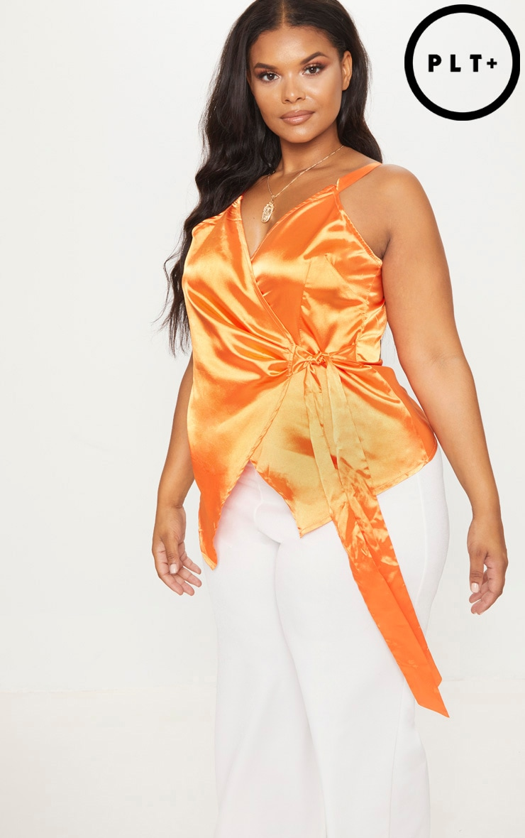 Plus Orange Wrap Top
