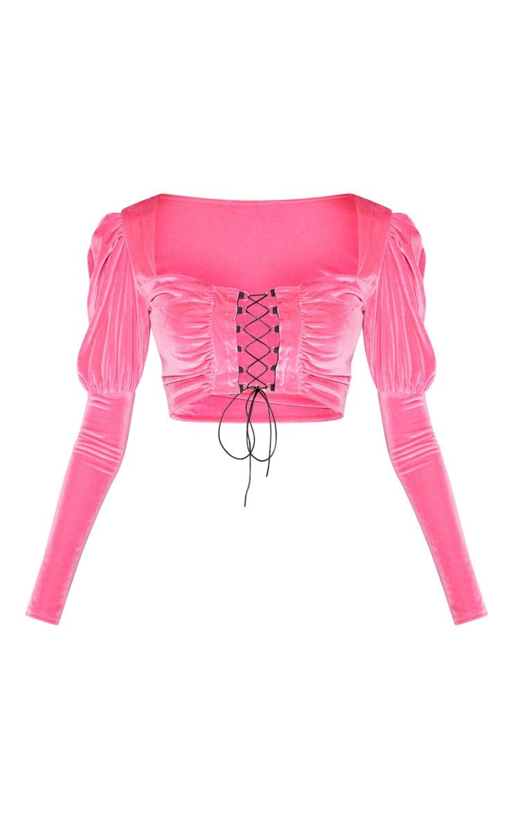 Neon Pink Velvet Hook And Eye Crop Top 3