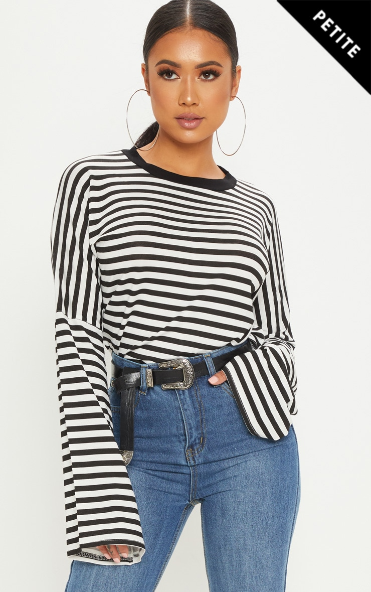 Petite Black Flared Sleeve Striped T-Shirt