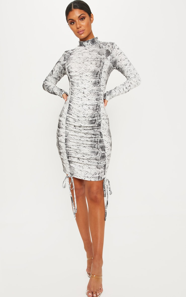 Grey Snake Print High Neck Ruched Front Midi Dress