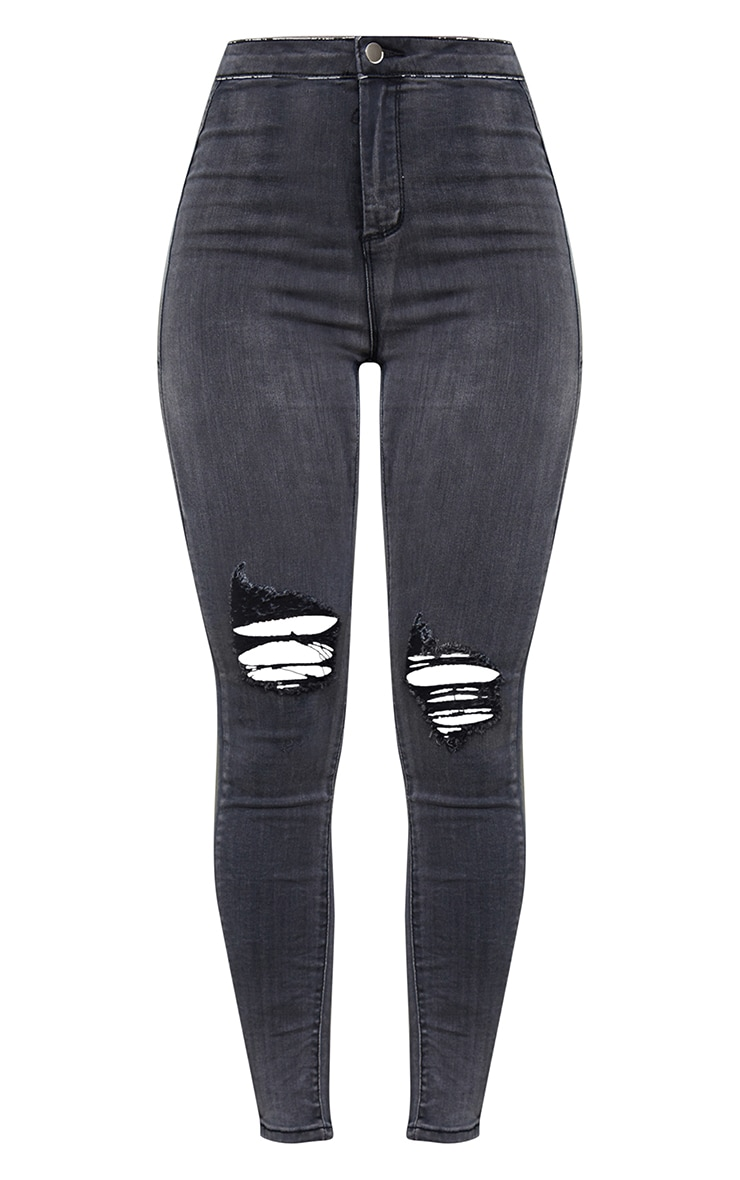 PRETTYLITTLETHING Washed Black Knee Rip Disco Skinny Jean 5