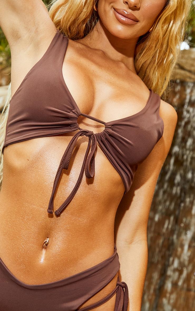 Chocolate Scoop Key Hole Tie Front Bikini Top 4