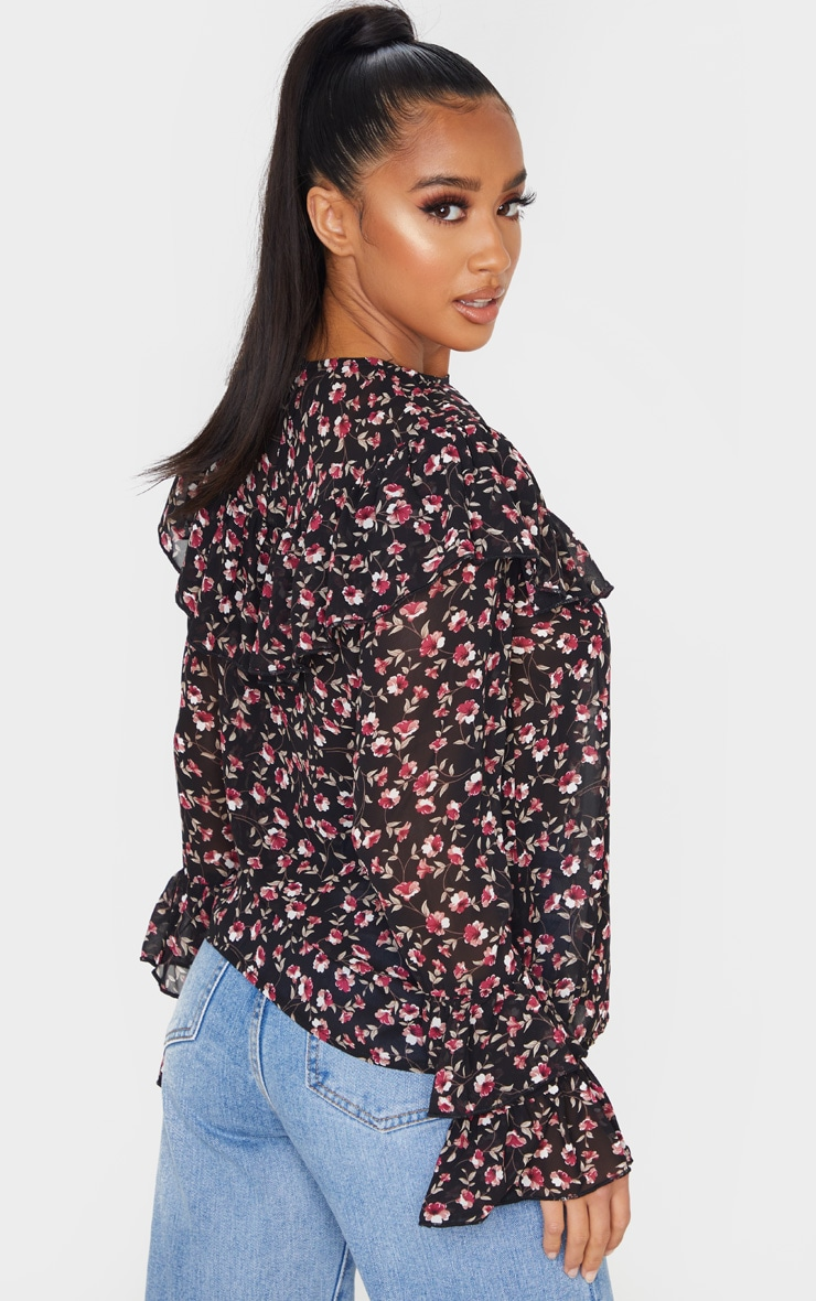 Petite Black Floral Frill Detail Long Sleeve Blouse 2
