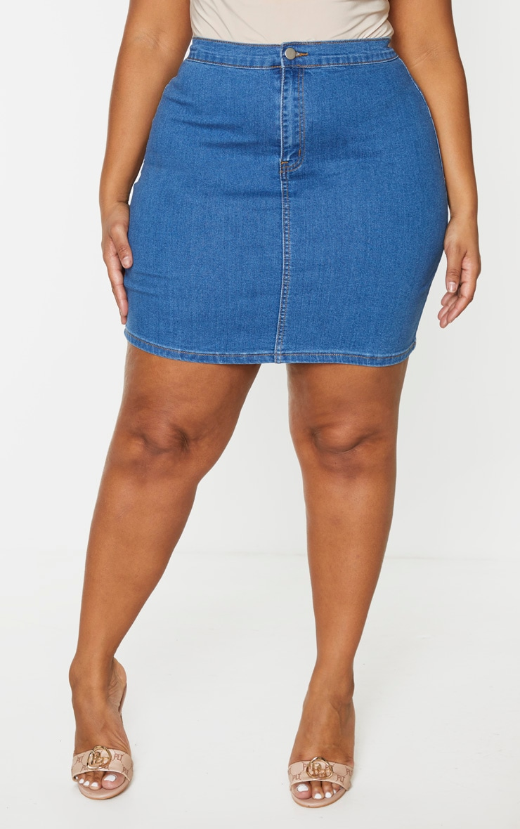 Plus Mid Blue Wash Disco Fitted Denim Skirt 2