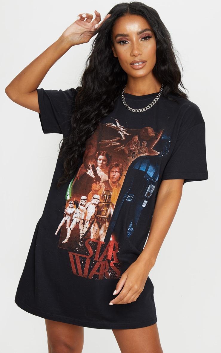 Black Star Wars Slogan T Shirt Dress 1