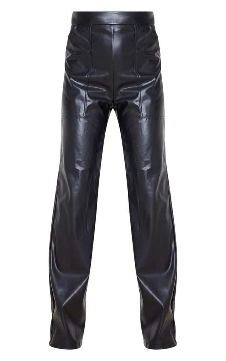 Black Pocket Detail Faux Leather Straight Leg Pants 3