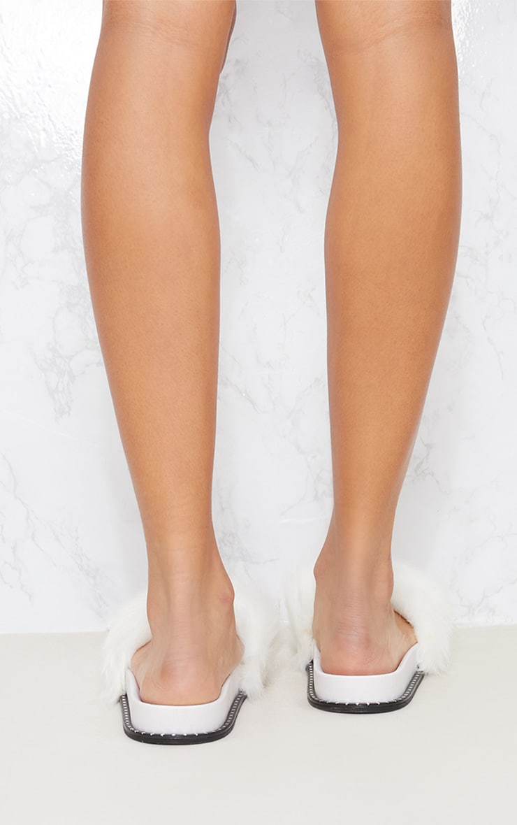 White Faux Fur Studded Sliders 4