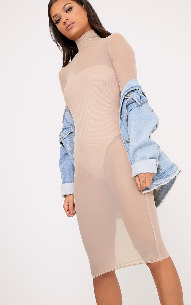 Ayda Nude High Neck Mesh Midi Dress 3