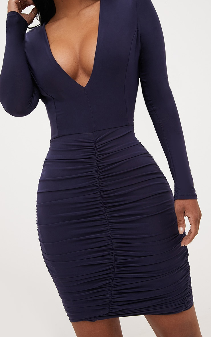 Shape Navy Ruched Slinky Mini Dress 5