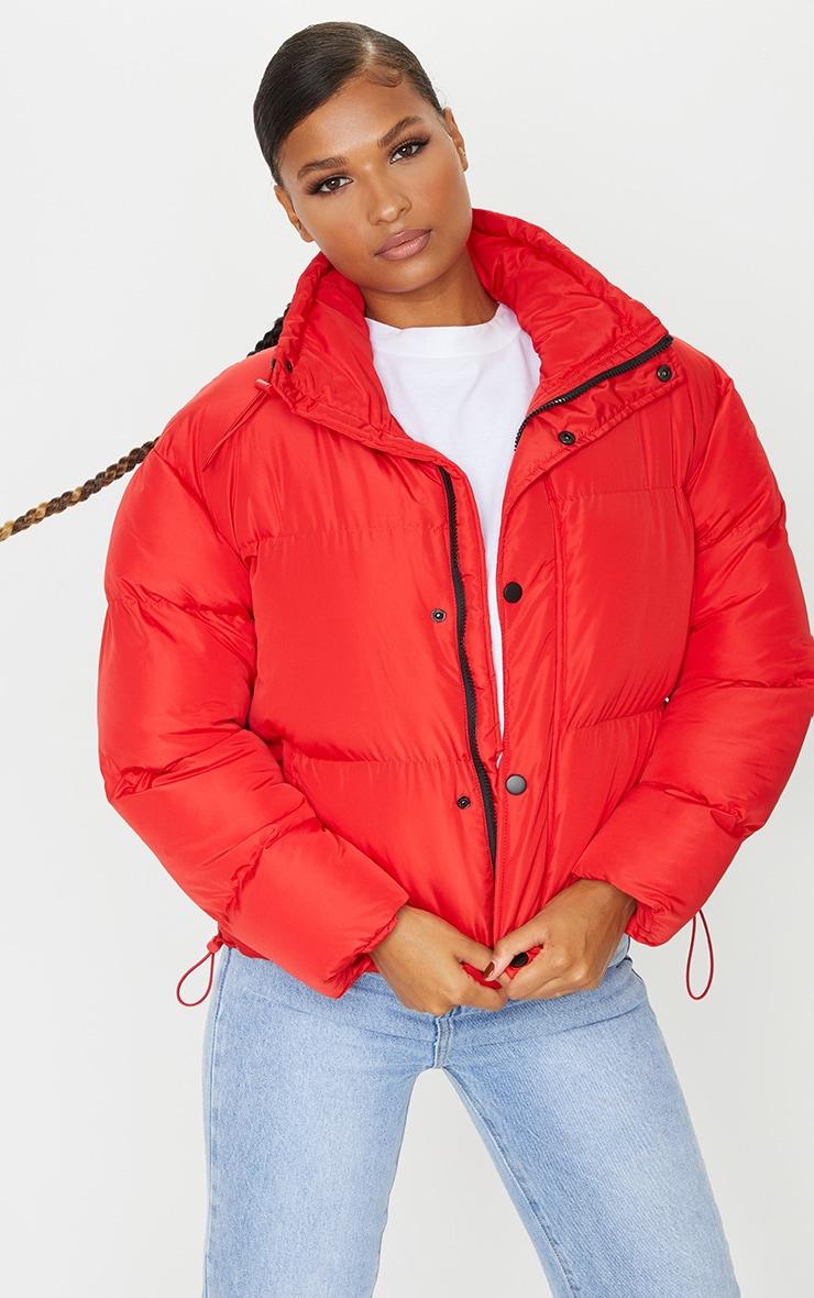 Red Toggle Detail Puffer Jacket 1