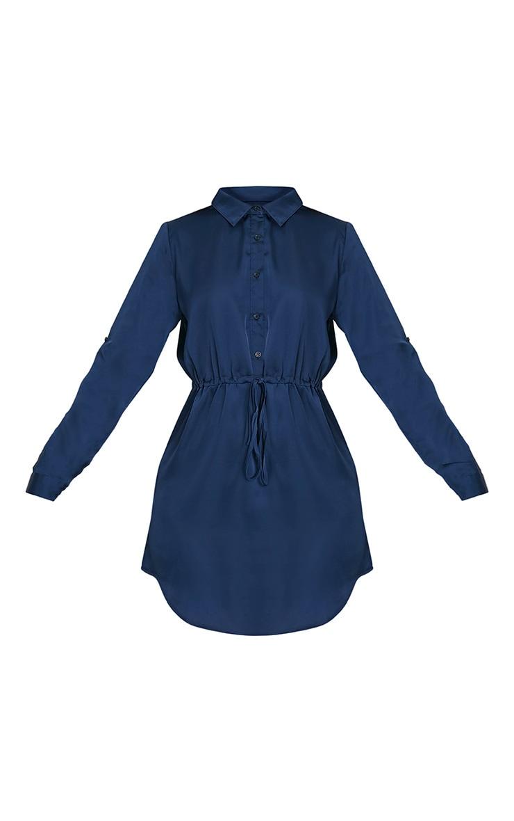 Amanda Navy Tie Waist Satin Shirt Dress 3