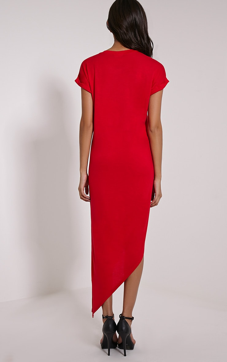 Nolah Red Asymmetric T-Shirt Dress 2