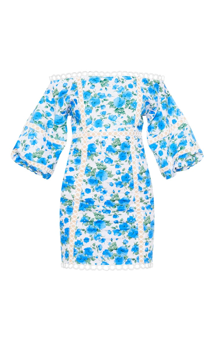 Blue Floral Print Balloon Sleeve Bardot Bodycon Dress 3