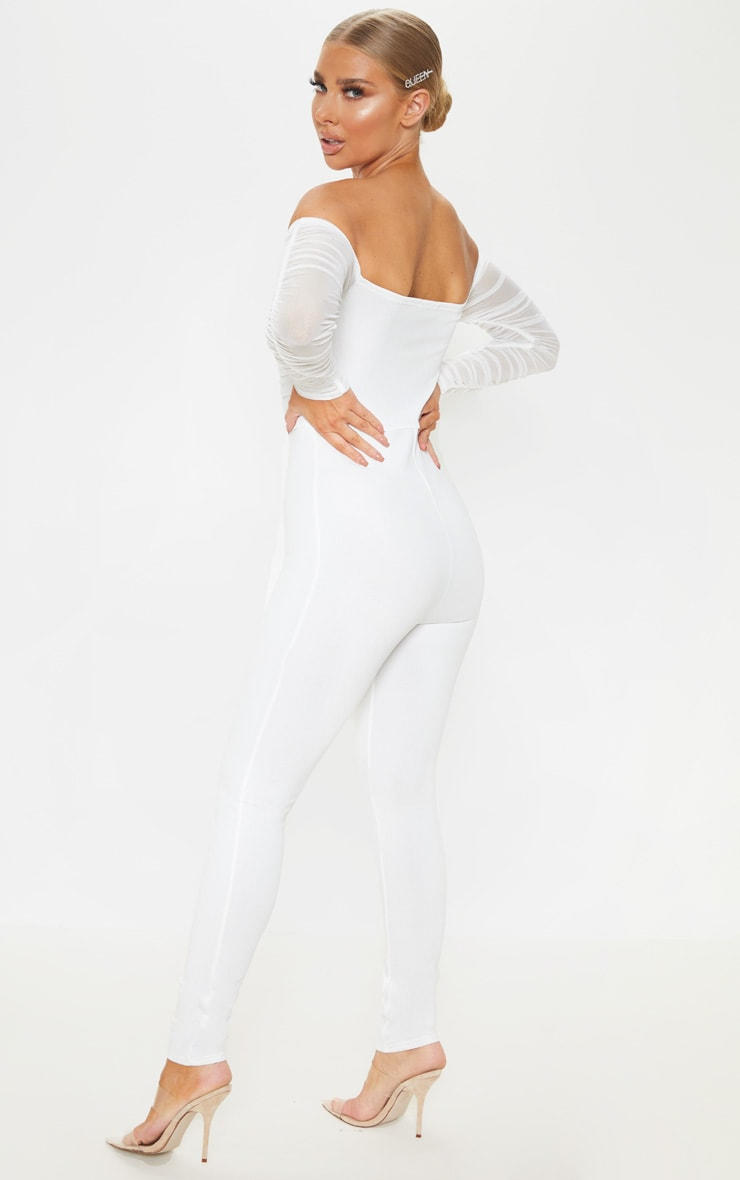 White Mesh Bardot Long Sleeve Jumpsuit 2