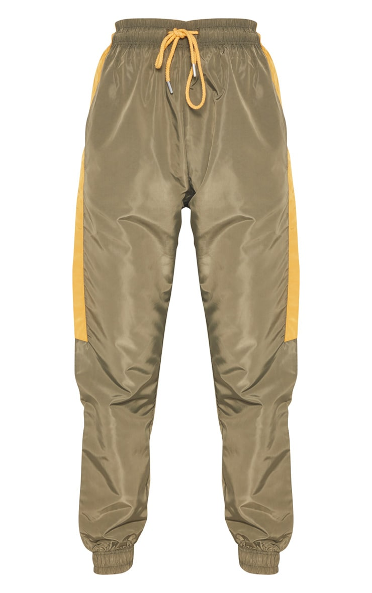 Sage Green Contrast Panel Shell Trouser 3