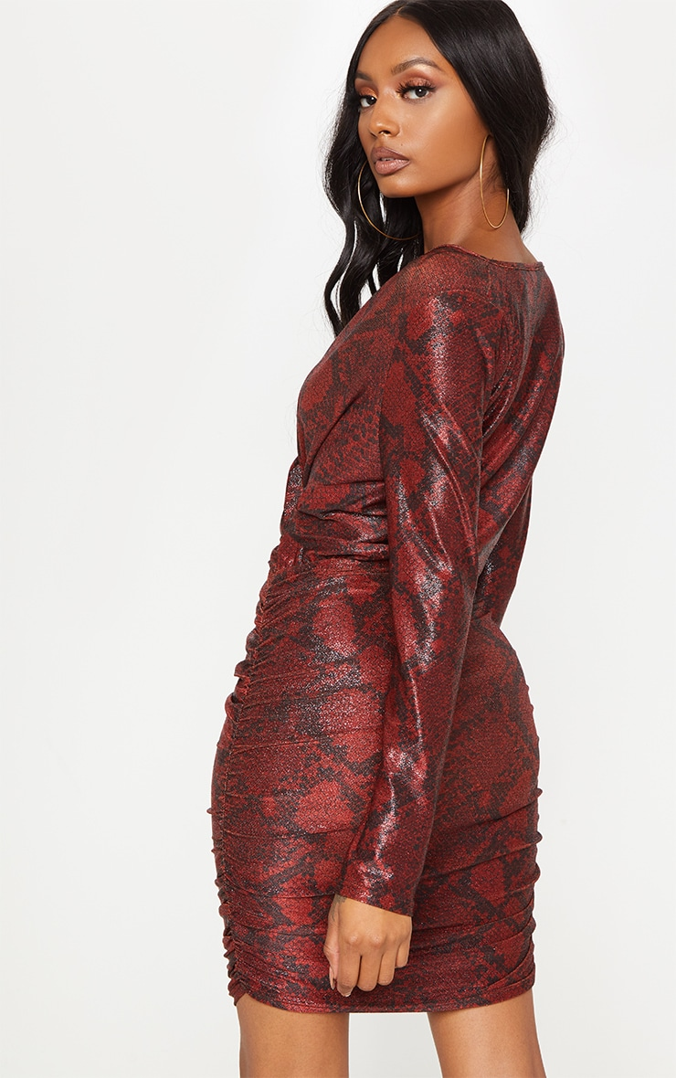 Burgundy Glitter Snake Print Ruched Shoulder Pad Bodycon Dress 2