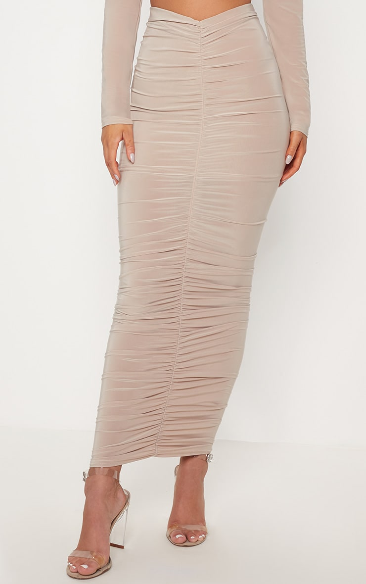Stone Ruched Detail Midaxi Skirt 2