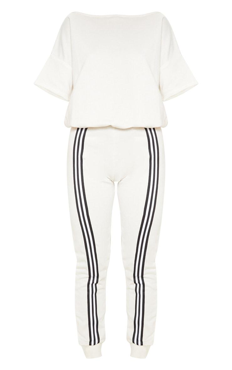 Ecru Loopback Sports Stripe Jumpsuit 3