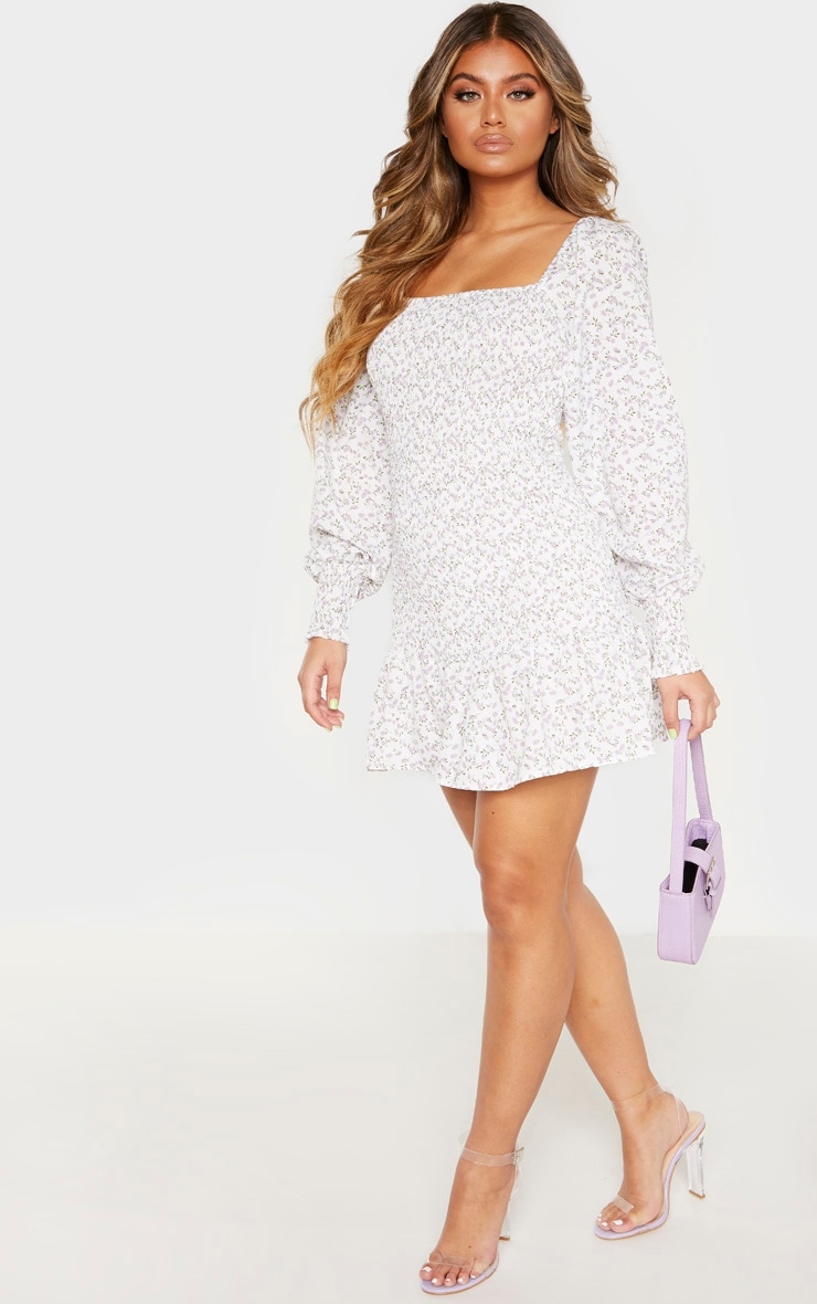 White Floral Print Puff Sleeve Shirred Dress 1