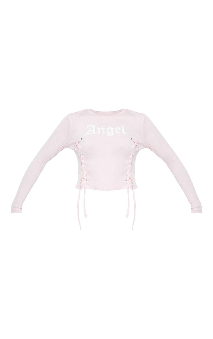 Baby Pink Angel Printed Lace Up Long Sleeve Crop Top 5