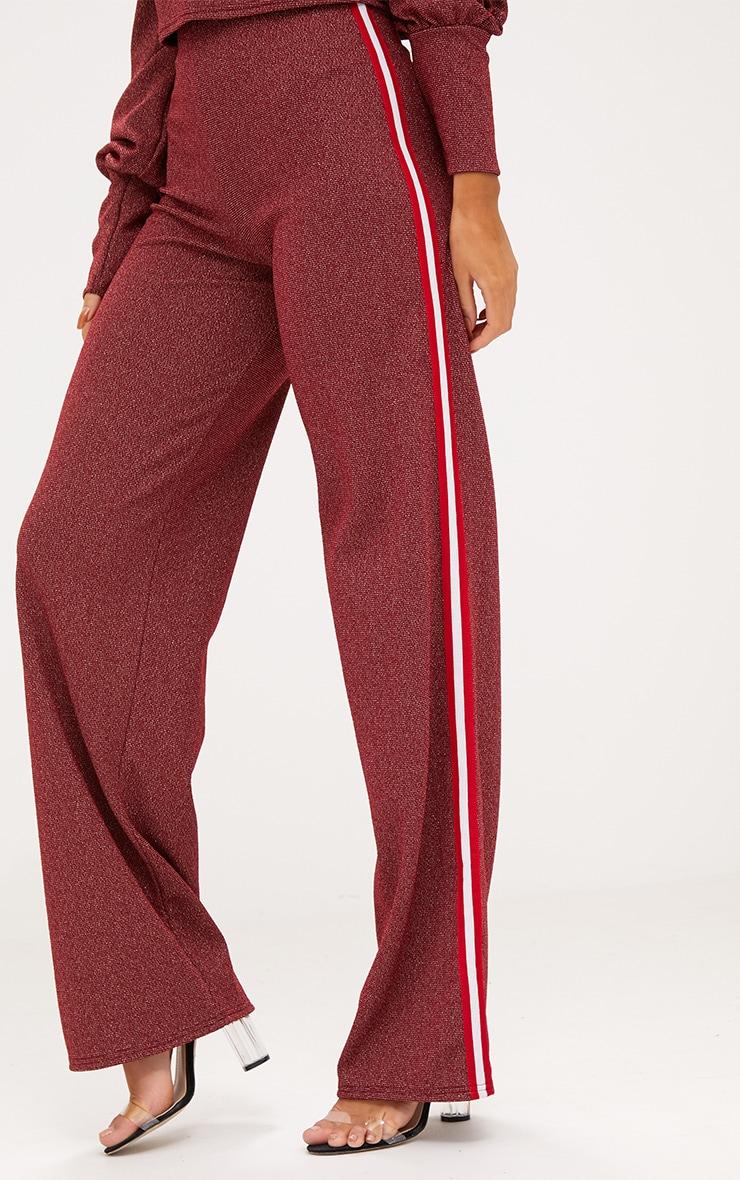 Red Lurex Sport Stripe Wide leg Trousers 4