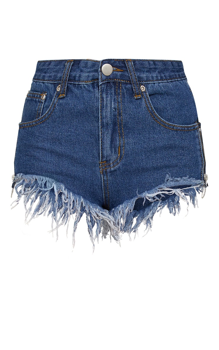 Petite Side Zip Detail Denim Hotpants 3