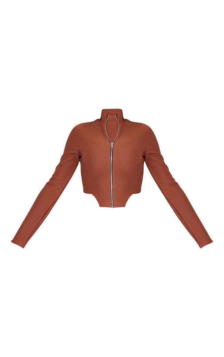 Brown Wide Rib Zip Front Curved Hem Long Sleeve Top 5