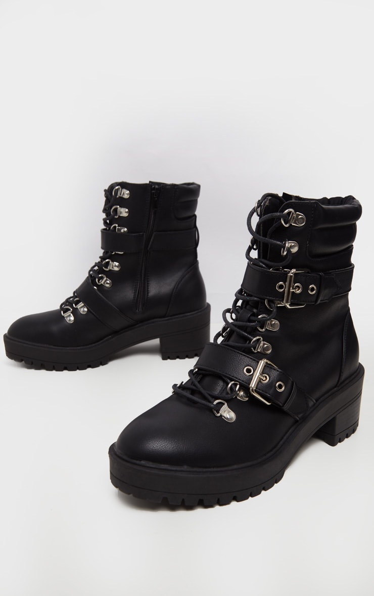 Black Hiker Double Buckle Cleated Ankle Boot 3