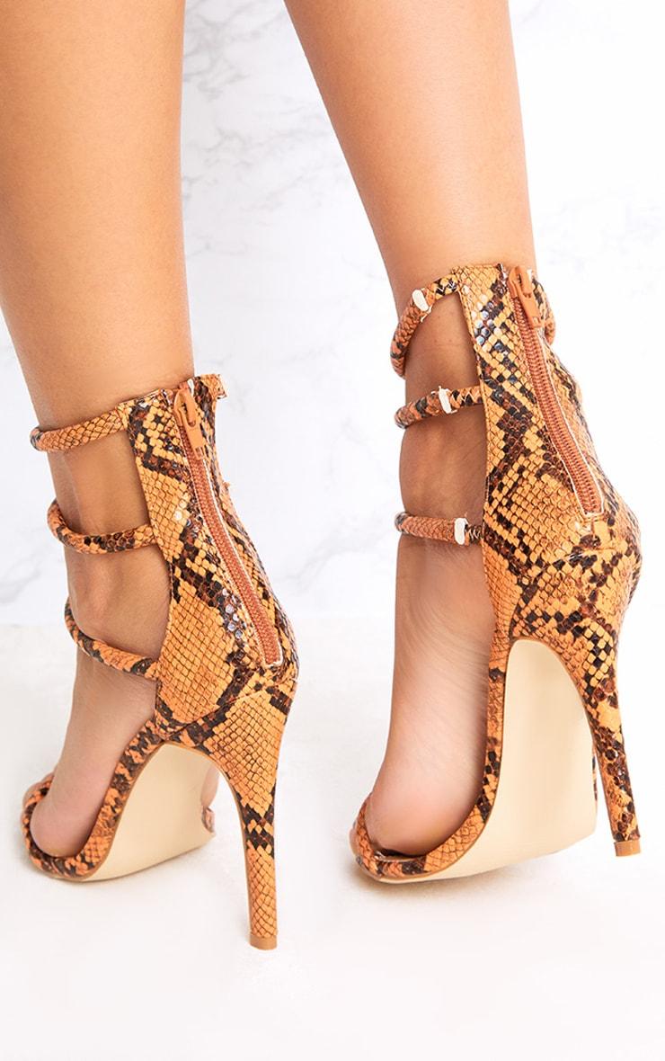 Orange Snake Print Strappy Heeled Sandals 4