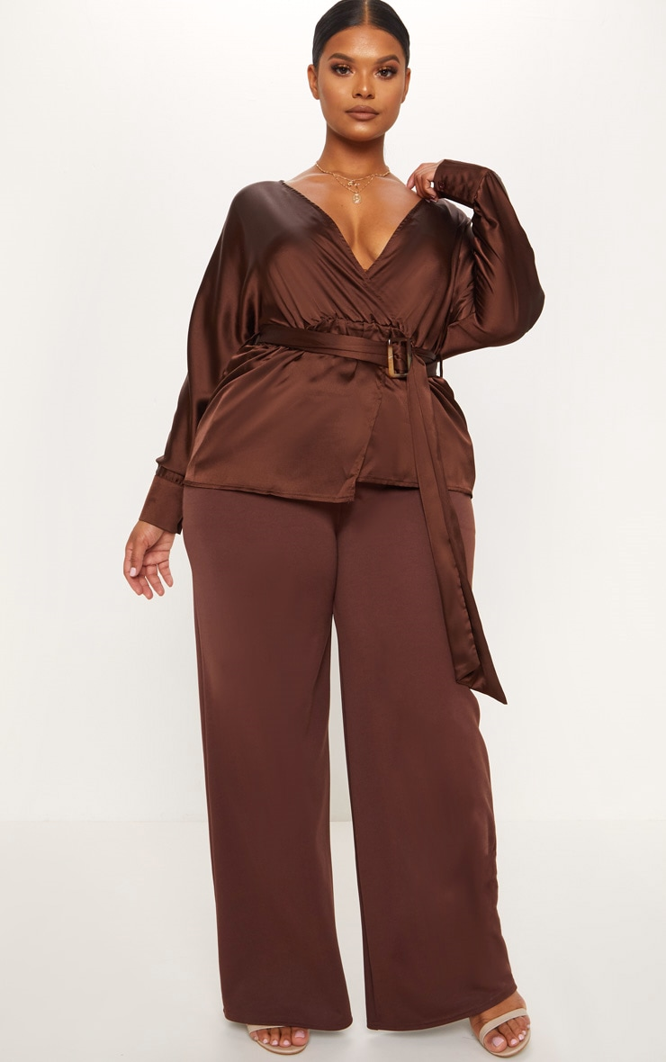 Plus Chocolate Brown Satin Belt Detail Blouse 4