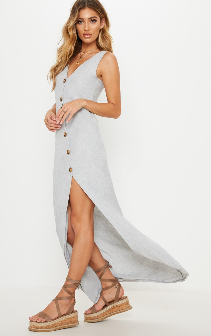 Pale Grey Tortoise Shell Button Up Maxi Dress 4