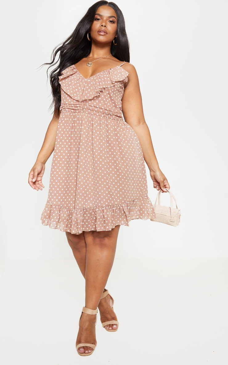Plus Brown Polka Dot Strappy Frill Detail Skater Dress 1