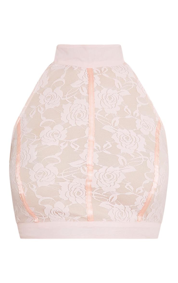 Zabrina Pink Lace Halterneck Crop Top  4