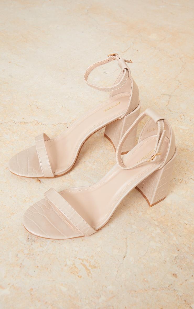 Nude Croc PU Block Heel Sandals 3