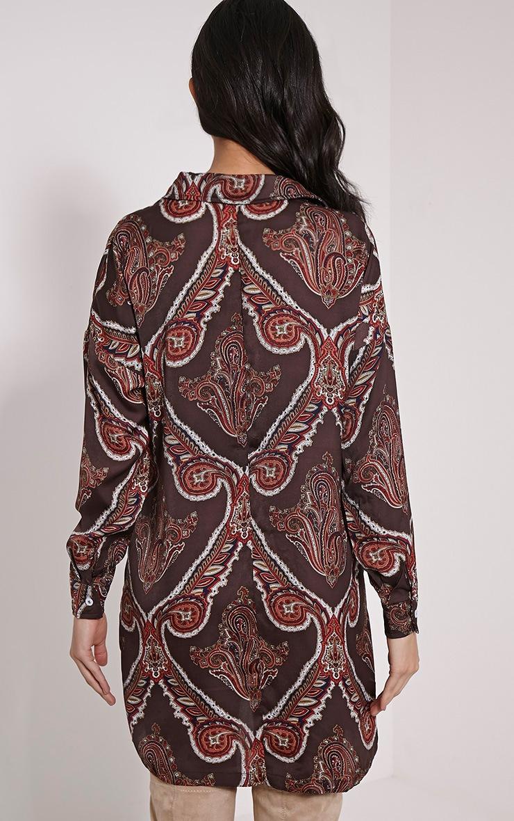 Hazelle Brown Paisley Shirt Dress 2