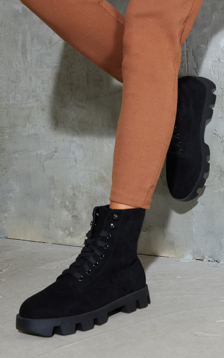 Black Suede Extreme Cleat Chunky Lace Up Ankle Boots 1
