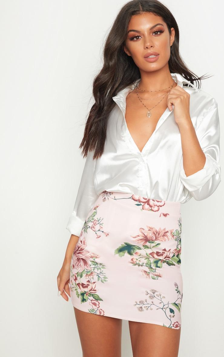 Floral Scuba Curve Hem Mini Skirt