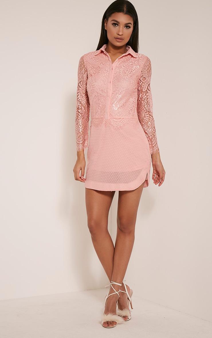 Gracey Blush Lace Detail Long Sleeve Shirt Dress 9