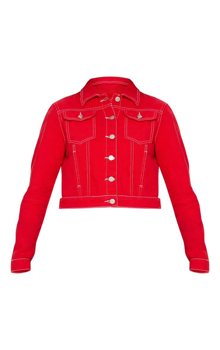 Deep Red Cropped Denim Jacket 3