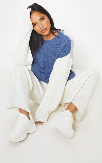 Cream Colour Block Cropped Knitted Jumper c669f6fcf