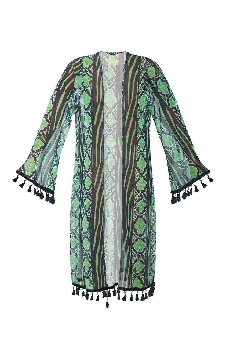 Lime Snake Print Mesh Tassel Kimono 4